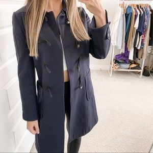 A.P.C. Wool Toggle Front Trench Coat Navy Blue